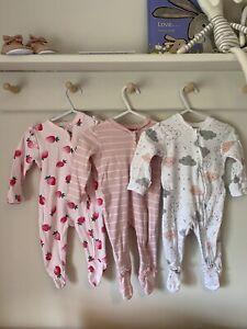 3x Zip Baby Girl Sleepsuits 0-3 TU