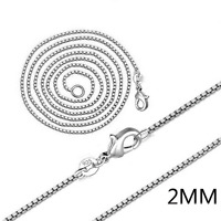 "925 Silver Plated 2MM Box Chain Necklace Fashion Jewelry 16"" 18"" 20"" 22"" 24"" DIY"