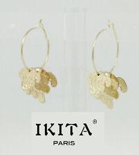 Luxus Creolen Ohrringe Hänger Hund Filigran Ikita Paris Ohrschmuck 3cm Vergoldet