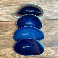 "Set of 4 Blue Agate Slices: ~2.8 - 3.3"" Long w/ Quartz Crystal Geode Centers"