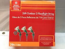 Home Accents Holiday 3-Socket Outdoor Flood Light String 26 Feet Long