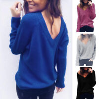 Womens Back V-Neck Blouse Tops Winter Chunky Knitted Oversized Sweater Jumper