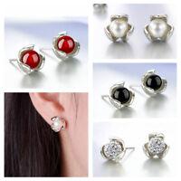 New Fashion Women 925 Sterling Silver Clover Freshwater Pearl Ear Stud Earrings