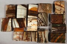 FIFTEEN (15) COCONUT JASPER PETRIFIED WOOD 25x18 RECTANGLE PILLOW BEADS HEMATITE
