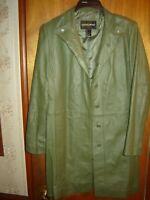 Womens Genuine Leather Coat (Dark Olive Green)
