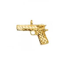 14K Solid Yellow Gold Pistol Gun Pendant - Handgun Firearm Necklace Charm Men