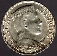 "5 Lati 1929 Lettland ""Mädchenkopf"" in fast unzirkuliert"