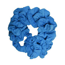 Twelve Soft Cotton Scrunchies Stretchy Blue Hair Twisters Girls Ponytail Holder