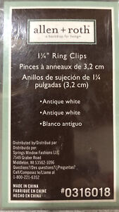 "allen+roth 1-1/4"" 10 curtain ring clips Antique White 0316018"