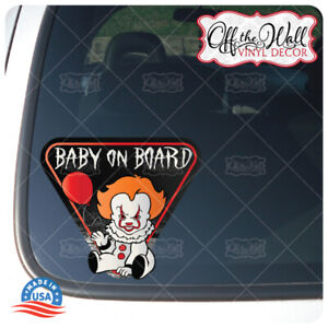"""Baby Pennywise """"BABY ON BOARD"""" Sign Vinyl Decal Sticker """"2017"""""""