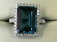 3CT Emerald Cut London Blue Topaz 14k White Gold Finish Diamond Solitaire Ring