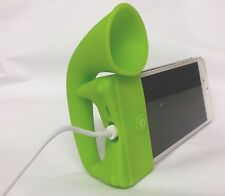 GREEN Portable Silicone Horn Amplifier Loud Speaker Desk Stand Apple iPhone 5 5S