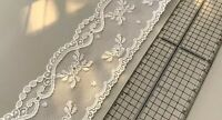 Vintage Floral Lace Edging - White Heirloom Bridal - 65mm Scallop Trim