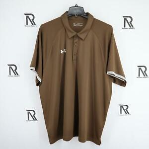 Mens Under Armour Heatgear Loose Fit Brown Athletic Golf Polo Shirt Size 4XL