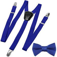 New Y back Kid's Boy's Suspender adjustable strap clip on & bowtie Royal blue