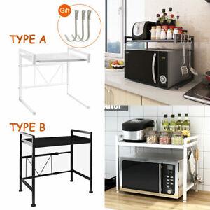 2 Tiers Microwave Oven Rack Shelf Extendable Kitchen Organizer Storage, 3 hooks