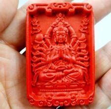 China Rojo Orgánico Cinnabar tallar Sun Wukong Colgante Hacer Joyería Collar D60