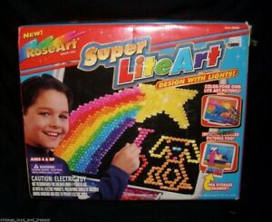 1997 LIGHT BRITE BRIGHT SUPER LITE ART ROSEART TOY GAME BOX PAPERS LIGHTS UP