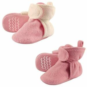 Hudson Baby Cozy Fleece Like Pink Booties Non Skid Bottom- Sz 4T -New with Tags