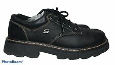 VTG 90's Skechers Womens 9 Black Leather Lace-Up Chunky Lug Sole Shoes Grunge