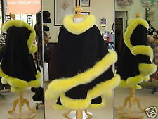 Black Cashmere Cape With Lemon Fox Fur Trim Beautifully Canadian Label