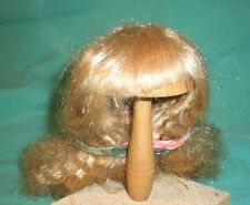 """doll wig blond 9"""" to 9.5"""" long hair w/ fringe and small curled perm"""