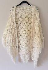 Vintage Crochet Shawl White Ivory Festival Boho