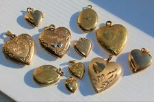 Vintage Yellow Gold-Filled Engraved Heart Locket 11 Pieces 18.9 Grams NOT SCRAP