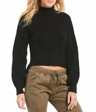 NEW Chelsea & Violet Monk Neck Lace Up Side Black Sweater $ 88