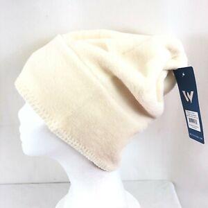 White Sierra Fleece Beanie Hat Ivory Slouchy Warm Soft Youth L/XL