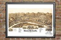 Old Map of Buena Vista, VA from 1891 - Vintage Virginia Art, Historic Decor