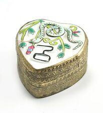 Vintage Chinese Shard Box Tibetan Silver Porcelain Jewelry Mirror Snake Zodiac