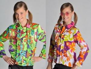 70er 80er Jahre Hemd Kostüm Flowerpower Kinder Hippie Party Disco Rüschenhemd