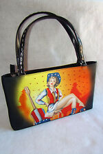 New Ventage Rodeo Music Red White Blue Yellow Fabric Vinyl Purse Shoulder Bag