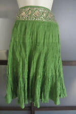 BCBG Skirt Sz XS Boho Chic Green Gold Sequin Waist Crepe Skirt Max Azria