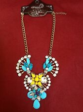 Chunky Coloured Blue Flower Bib Necklace With Diamonte / Diamanté Detail - New!