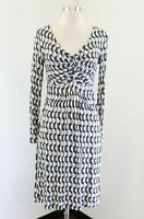 Boden Blue Gray Geometric Print Jersey Dress Size UK 10R US 6R 6 V-Neck Drapey