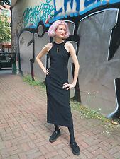 langes Kleid Maxikleid schwarz Rave Techno 90er True VINTAGE 90s dress black