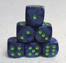 CHX LUSTROUS DK BLUE w/GREEN - *SIX* 12mm DICE - PEARL ROYAL BLUE! SMALLER SIZE!