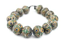 Artisanal Enameled Multicolor Silver Berber Beads 31mm Morocco African Bicone