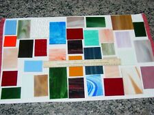 Lot of 35 Rectangular Stained Glass Pieces Scrap Mosaic Arts Crafts Assortment