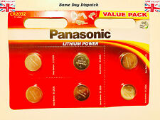 6 Panasonic CR2032 3 Volt Lithium Powered Coin Batteries UK Trusted Seller 2032