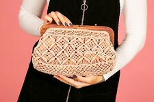 70s vintage style crocheted macrame wooden frame clutch bag Accessorize