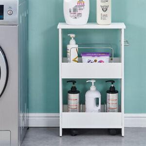 Bathroom Toilet Slim Floor Cabinet Narrow Storage Trolley Cart Rack Holder White