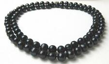 Double Strand 10 mm AAA- Lustrous Pure Black Freshwater Pearl Necklace