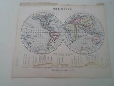 Antique Map 1890 ~ THE WORLD HEMISPHERES - From Philips Atlas For Beginners  §1a