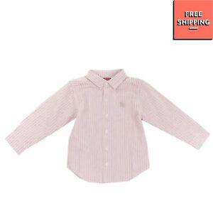 TUTTO PICCOLO Shirt Size 6M / 66CM Striped Round Hem Embroidered Logo