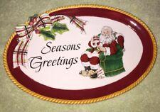 Fitz and Floyd Christmas Season Greetings Santa Plate Snack Canape Cookies New