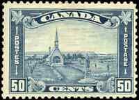Canada #176 mint F-VF OG NH 1930 Arch/Leaf 50c dull blue shade Acadian Church