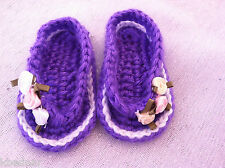 BABY SANDALS FLIP FLOPS SHOES CROCHET Siz 0-3 Mo Purple White Trim White Flowers